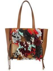 Chloe Milo Embellished Tote Bag Leather Brown