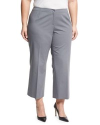 Lafayette 148 New York Stretch Knit Pleated Cropped Pants Gray