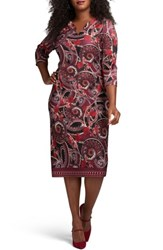 Eci Plus Size Women's Floral Paisley Scuba Sheath Dress Wine