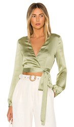 Privacy Please Avery Wrap Top In Sage. Sage Green