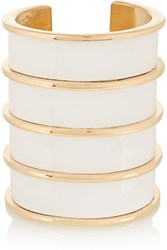 Balmain Gold Tone And Glossed Leather Cuff Metallic