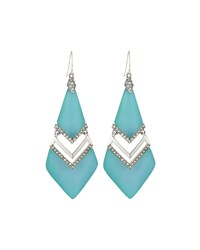 Alexis Bittar Lucite And Crystal Chevron Drop Earrings Aqua Opalescent