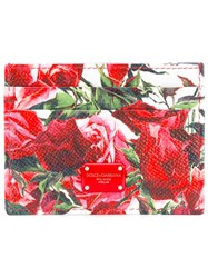 Dolce And Gabbana Rose Print Card Holder Women Leather One Size