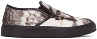 Neil Barrett Black And White Tattoo Statue Slip On Sneakers