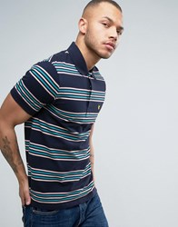 Lyle And Scott Stripe Pique Polo Regular Fit Eagle Logo In Navy Navy