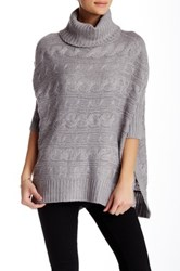 Romeo And Juliet Couture Cable Knit Dolman Turtleneck Sweater Gray