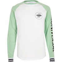 River Island White And Mint Printed Raglan Sleeve T Shirt