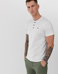 Hollister Icon Logo Henley T Shirt In Brilliant White