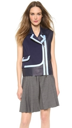 Viktor And Rolf Leather Vest Navy Blue