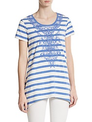 Saks Fifth Avenue Blue Stripe Crochet Overlay Tee Antique White Stripe