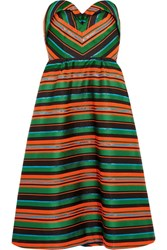 Delpozo Strapless Striped Jacquard Dress Green