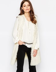 First And I Teddybear Faux Fur Gilet White