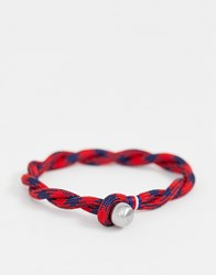 Tommy Hilfiger Woven Bracelet In Red And Navy