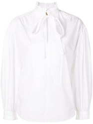 Burberry Tie Neck Shirt White