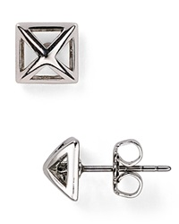 Rebecca Minkoff Pyramid Cut Out Stud Earrings Rhodium