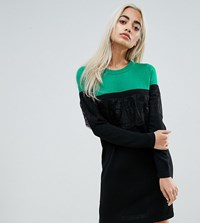 Asos Petite Knitted Mini Dress In Colourblock With Lace Multi