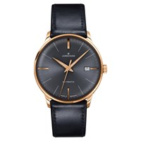 Junghans 027 7513.00 Men's Meister Classic Leather Strap Watch Black Grey