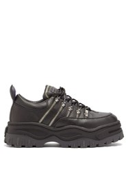 Eytys Angel Zipped Leather Trainers Black