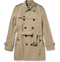 Burberry Mid Length Cotton Gabardine Trench Coat Neutrals