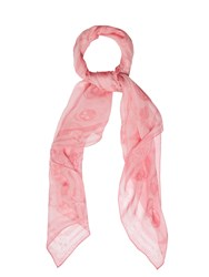 Alexander Mcqueen Skull And Butterfly Silk Chiffon Scarf Pink