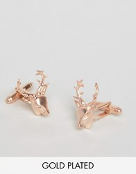 Simon Carter Rose Gold Stag Cufflinks Exclusive To Asos Gold