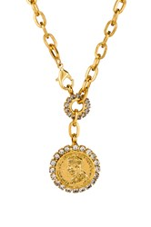 Elizabeth Cole Crystal Coin Necklace Metallic Gold