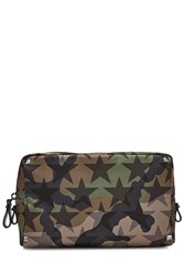 Valentino Camustars Printed Wash Bag With Leather