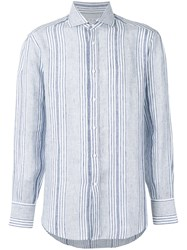 Brunello Cucinelli Striped Long Sleeve Shirt Men Silk Linen Flax Xxl Blue