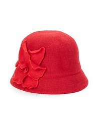 August Hats Floral Applique Wool Blend Knit Cloche Red