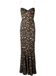 Norma Kamali Strapless Lace Gown Black