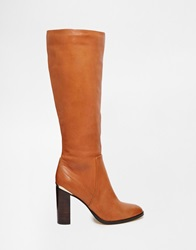 River Island Heeled Knee High Gold Detail Boots Tan