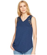 Tribal Jersey Slub Cami With Lace Detail Deep Sky Sleeveless Blue