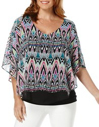 Rafaella Petite Ikat Dolman Sleeve Top Black Multi
