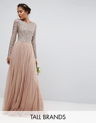 Maya Tall Long Sleeve Sequin Top Maxi Tulle Dress Mink Pink