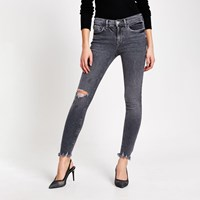 River Island Grey Ripped Amelie Mid Rise Skinny Jeans