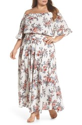 Glamorous Plus Size Women's Print Off The Shoulder Maxi Dress White Floral