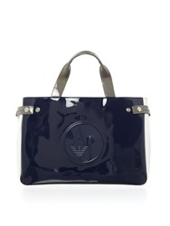 Armani Jeans Vernice Tricolour Tote Bag Navy