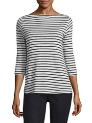 Eileen Fisher Linen Striped Boatneck Top White Black