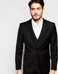 Vito Slim Suit Jacket With Stretch Black