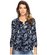 Lucky Brand Floral Vines Top Blue Multi Women's Clothing