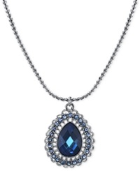 2028 Silver Tone Blue Crystal Teardrop Pendant Necklace