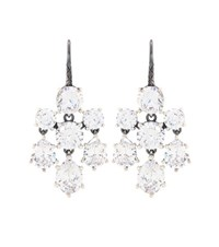 Bottega Veneta Crystal Embellished Silver Earrings White
