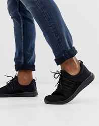 New Look Black Lace Up Runner Trainers