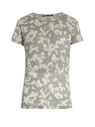 Proenza Schouler Abstract Floral Print Short Sleeved Cotton T Shirt Grey Multi