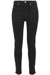 Love Moschino Woman Printed High Rise Skinny Jeans Black