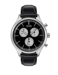 Hugo Boss Companion Stainless Steel Leather Strap Watch Black