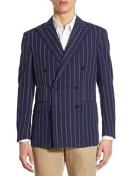 Polo Ralph Lauren Morgan Regular Fit Pinstriped Double Breasted Sportcoat Navy White