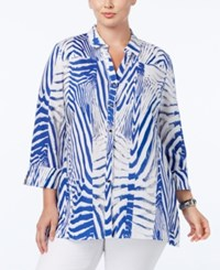 Jm Collection Plus Size Printed Linen Shirt Only At Macy's Artic Animal Blue
