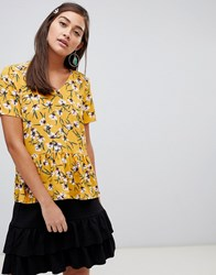 Soaked In Luxury Floral Peplum Blouse Yellow