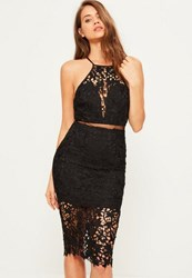 Missguided Black Lace Strappy 2 Piece Midi Dress